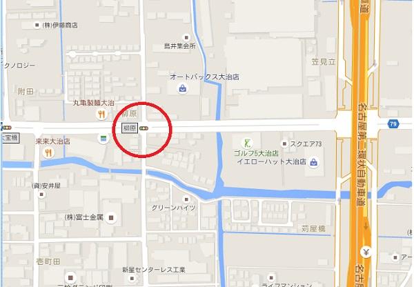 、大治町西條の柳原の信号交差点地図